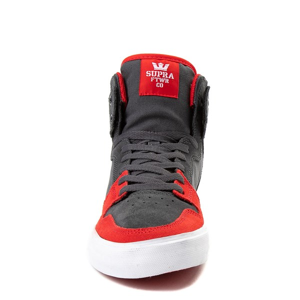 alternate view Mens Supra Vaider Hi Skate Shoe - Gray / RedALT4