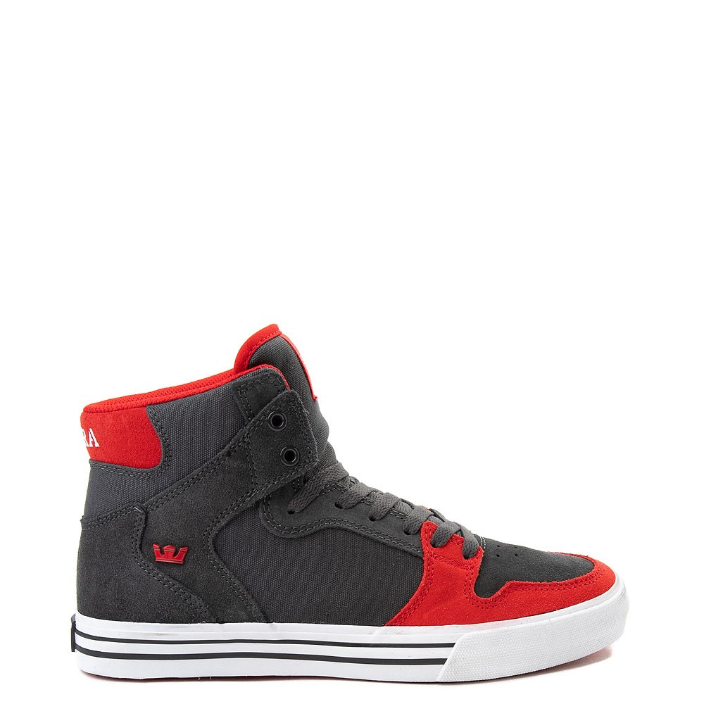 Mens Supra Vaider Hi Skate Shoe - Gray / Red