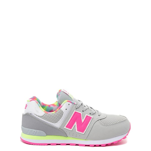 New Balance 574 Athletic Shoe - Big Kid - Gray / Pink