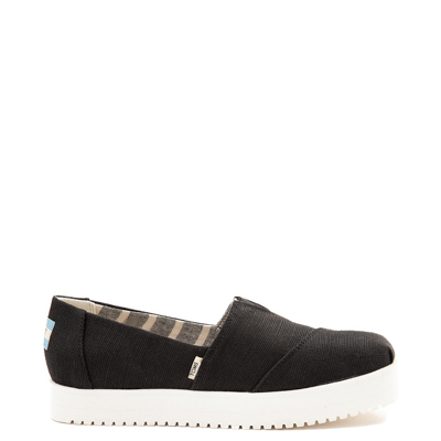 Main view of Womens TOMS Classic Slip On Platform Casual Shoe - Black