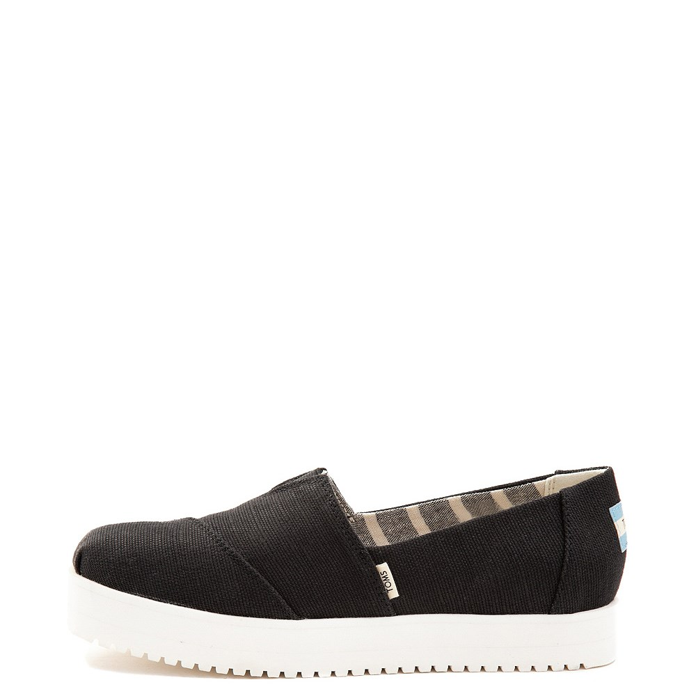 Womens TOMS Classic Slip On Platform Casual Shoe - Black