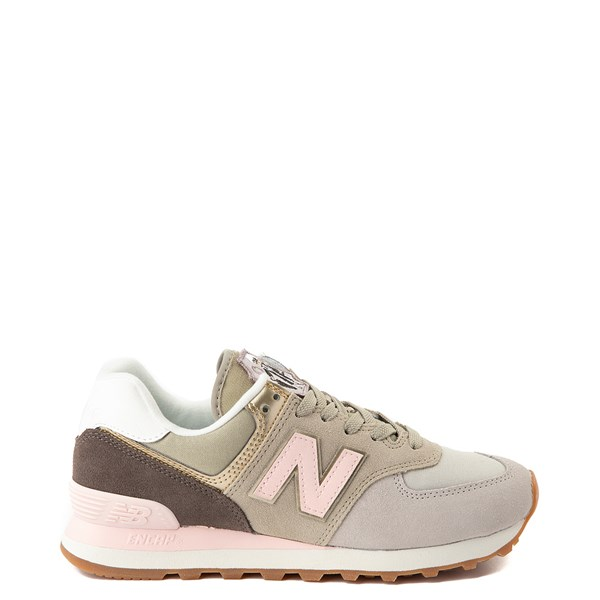 Womens New Balance 574 Metallic Patch Athletic Shoe - Tan / Pink