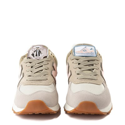 Alternate view of Womens New Balance 574 Metallic Patch Athletic Shoe - Tan / Pink