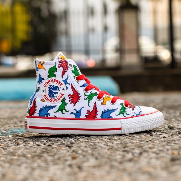 alternate view Converse Chuck Taylor All Star Hi Dinos Sneaker - Little Kid - WhiteALT1C