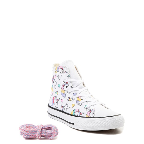 alternate view Converse Chuck Taylor All Star Hi Unicorn Rainbow Sneaker - Little Kid / Big Kid - WhiteALT1B