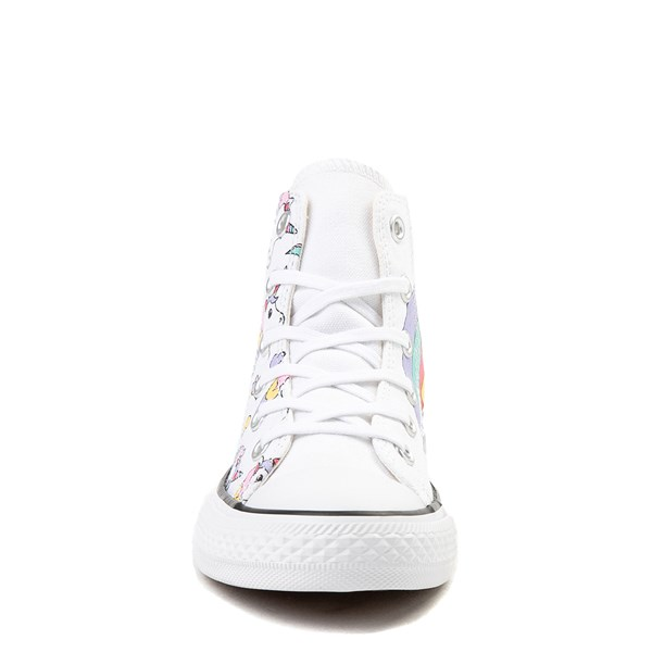 alternate view Converse Chuck Taylor All Star Hi Unicorn Rainbow Sneaker - Little Kid / Big Kid - WhiteALT4