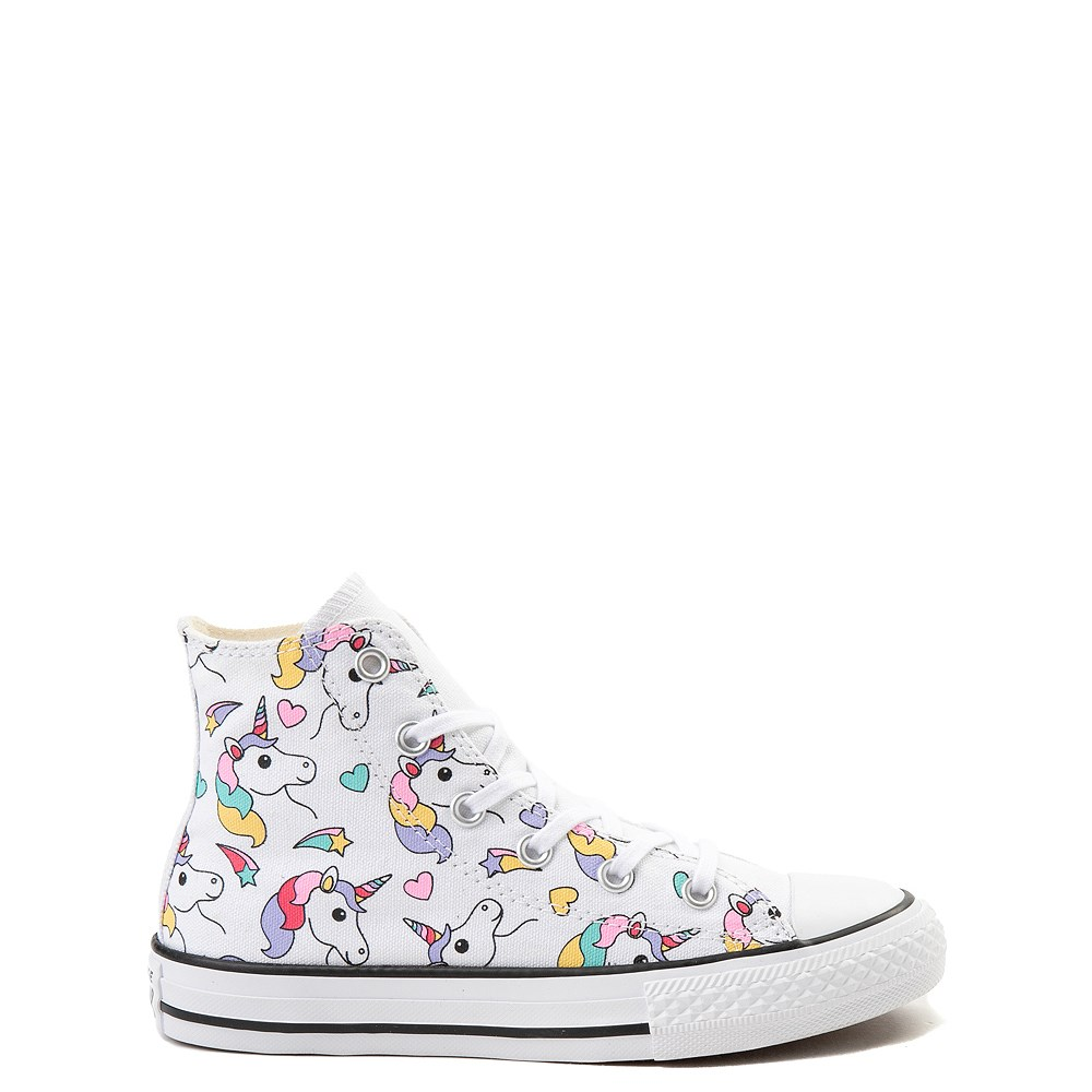 Converse Chuck Taylor All Star Hi Unicorn Rainbow Sneaker - Little Kid / Big Kid - White