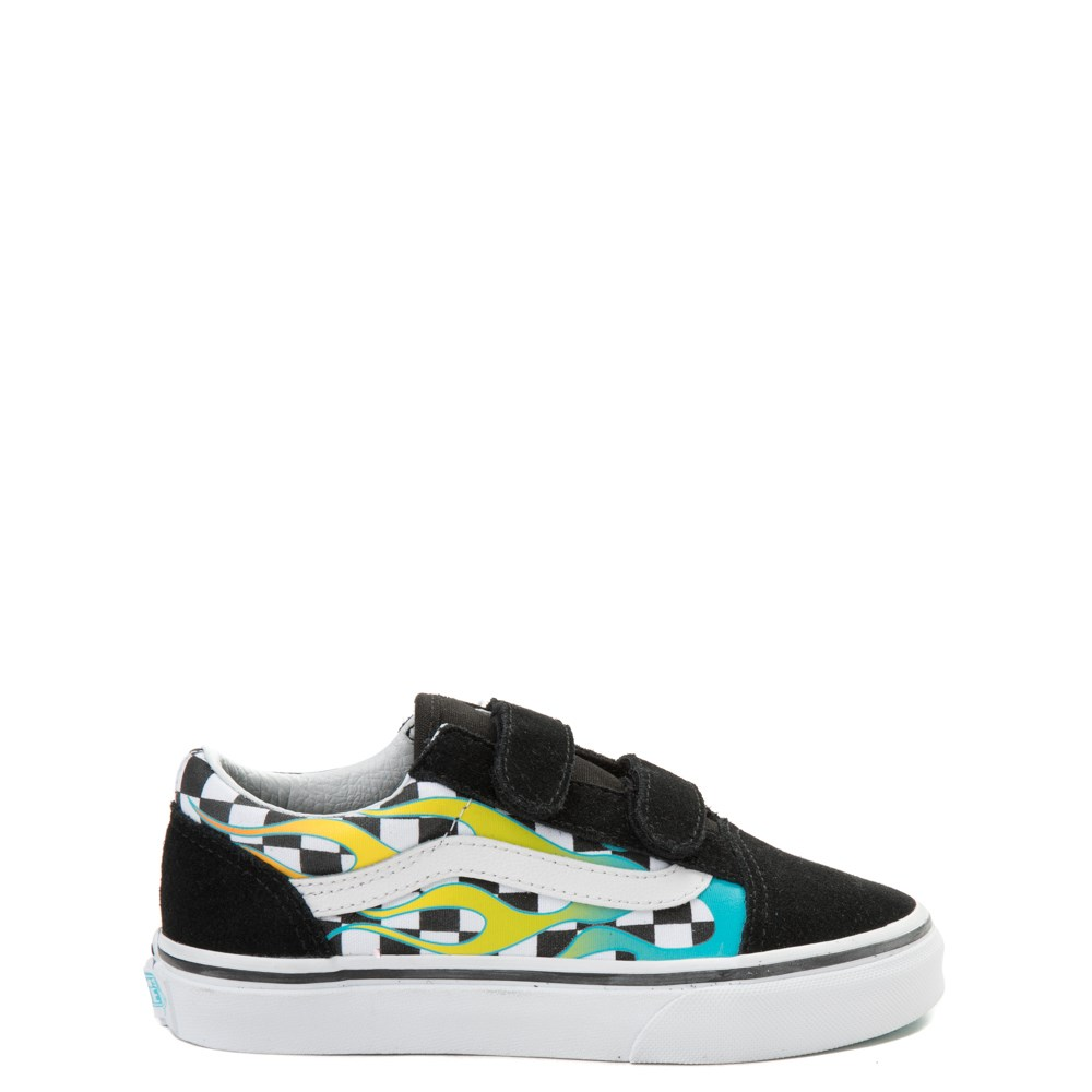 Vans Old Skool V Glow Flame Checkerboard Skate Shoe - Little Kid / Big Kid - Black / Flame