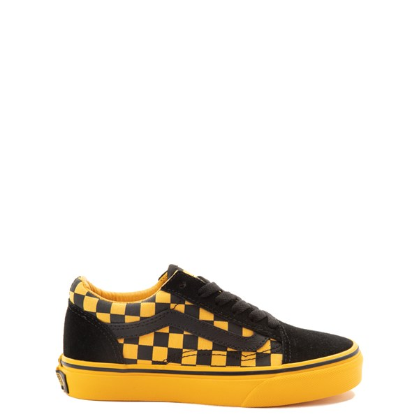 Vans Old Skool Checkerboard Skate Shoe - Little Kid - Black / Spectra Yellow