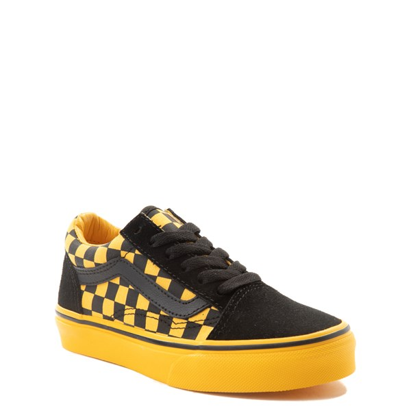 alternate view Vans Old Skool Checkerboard Skate Shoe - Little Kid / Big Kid - Black / Spectra YellowALT1