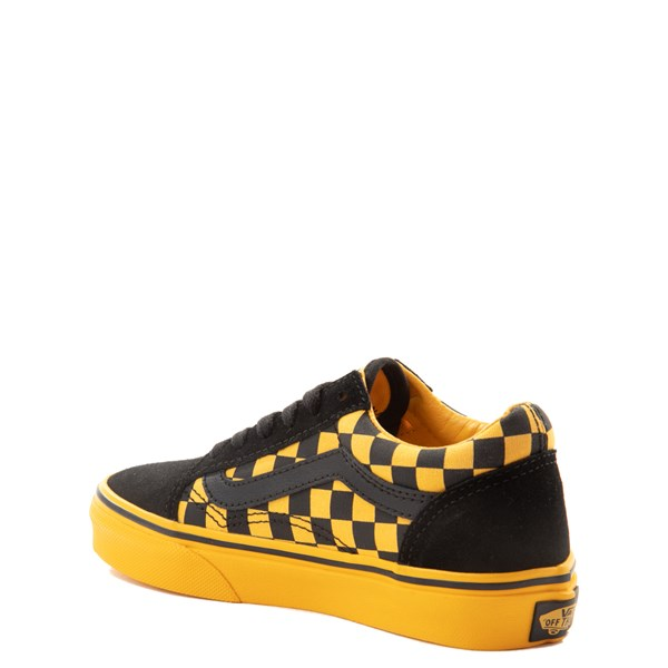 alternate view Vans Old Skool Checkerboard Skate Shoe - Little Kid / Big Kid - Black / Spectra YellowALT2