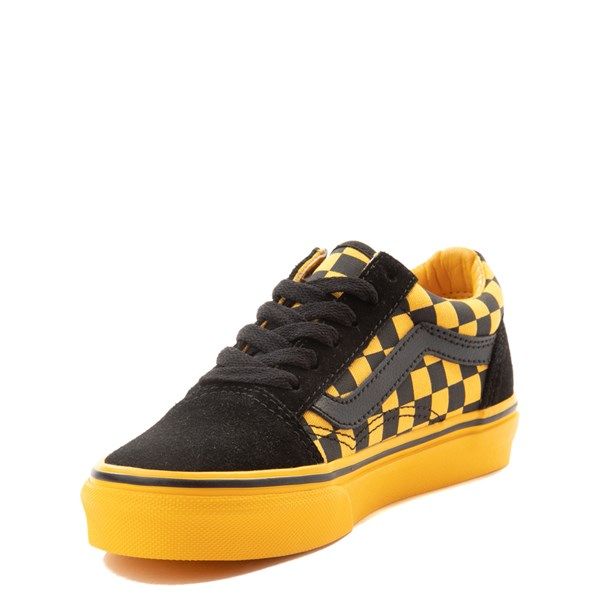 alternate view Vans Old Skool Checkerboard Skate Shoe - Little Kid / Big Kid - Black / Spectra YellowALT3