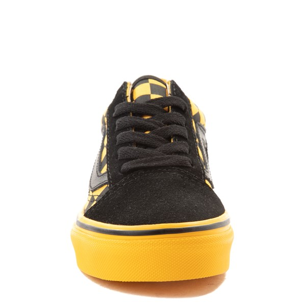 alternate view Vans Old Skool Checkerboard Skate Shoe - Little Kid / Big Kid - Black / Spectra YellowALT4