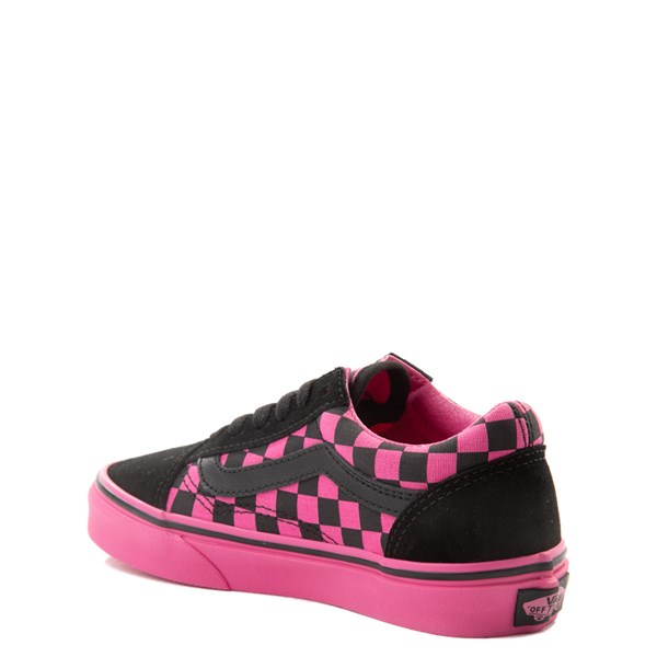 alternate view Vans Old Skool Checkerboard Skate Shoe - Little Kid / Big Kid - Pink / BlackALT2
