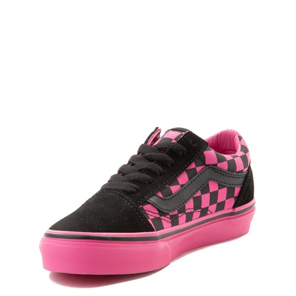 alternate view Vans Old Skool Checkerboard Skate Shoe - Little Kid - Pink / BlackALT3
