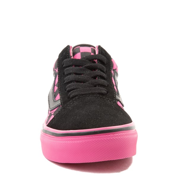 alternate view Vans Old Skool Checkerboard Skate Shoe - Little Kid / Big Kid - Pink / BlackALT4
