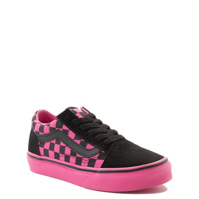 Alternate view of Youth Vans Old Skool Pink and Black Chex Skate Shoe