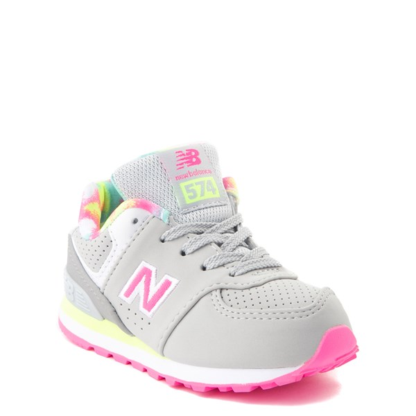 alternate view New Balance 574 Athletic Shoe - Baby / Toddler - Gray / PinkALT1
