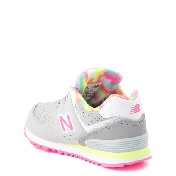 alternate view New Balance 574 Athletic Shoe - Baby / Toddler - Gray / PinkALT2