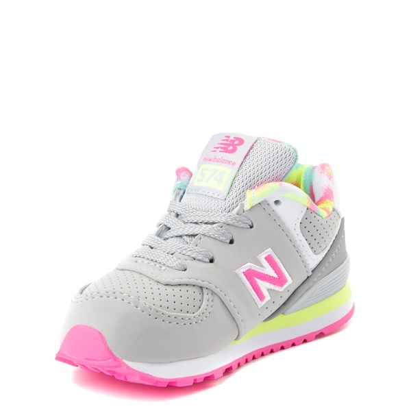 alternate view New Balance 574 Athletic Shoe - Baby / Toddler - Gray / PinkALT3