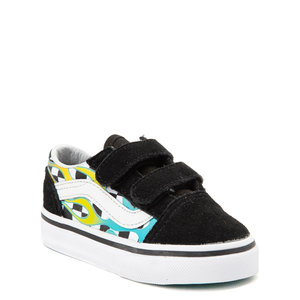 alternate view Vans Old Skool V Glow Flame Checkerboard Skate Shoe - Baby / Toddler - Black / MultiALT1B