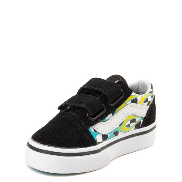 alternate view Vans Old Skool V Glow Flame Checkerboard Skate Shoe - Baby / Toddler - Black / MultiALT3