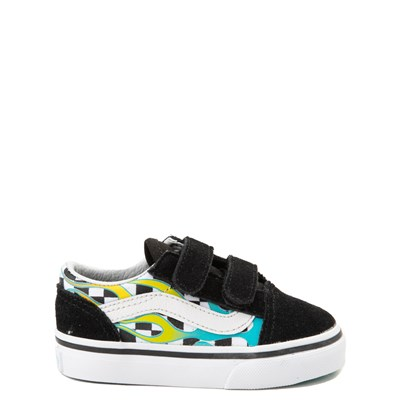 Main view of Vans Old Skool V Glow Flame Checkerboard Skate Shoe - Baby / Toddler - Black / Multi