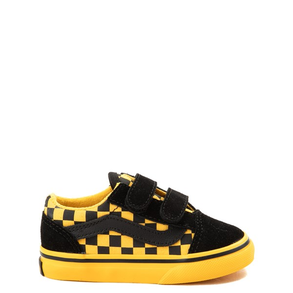 Vans Old Skool V Checkerboard Skate Shoe - Baby / Toddler - Yellow / Black