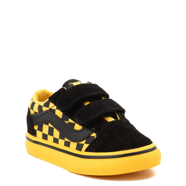 alternate view Vans Old Skool V Checkerboard Skate Shoe - Baby / Toddler - Yellow / BlackALT1