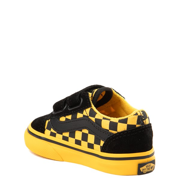alternate view Vans Old Skool V Checkerboard Skate Shoe - Baby / Toddler - Yellow / BlackALT2