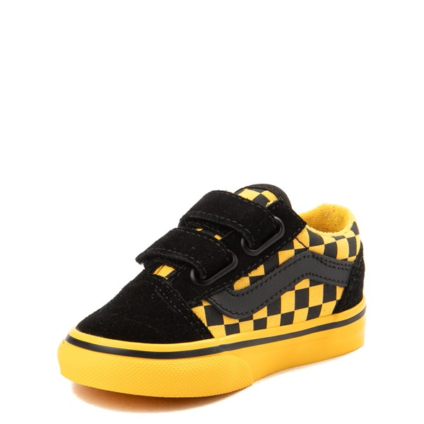 alternate view Vans Old Skool V Checkerboard Skate Shoe - Baby / Toddler - Yellow / BlackALT3