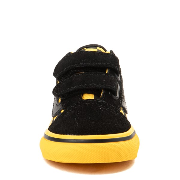 alternate view Vans Old Skool V Checkerboard Skate Shoe - Baby / Toddler - Yellow / BlackALT4
