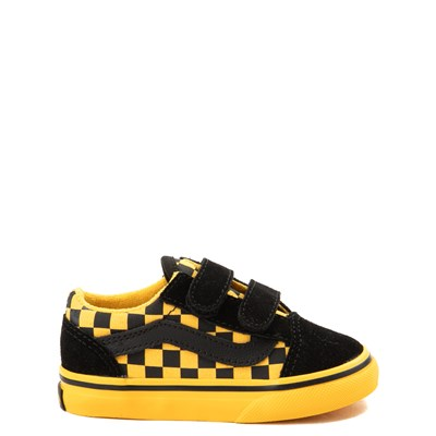 Toddler Vans Old Skool V Black and Yellow Chex Skate Shoe