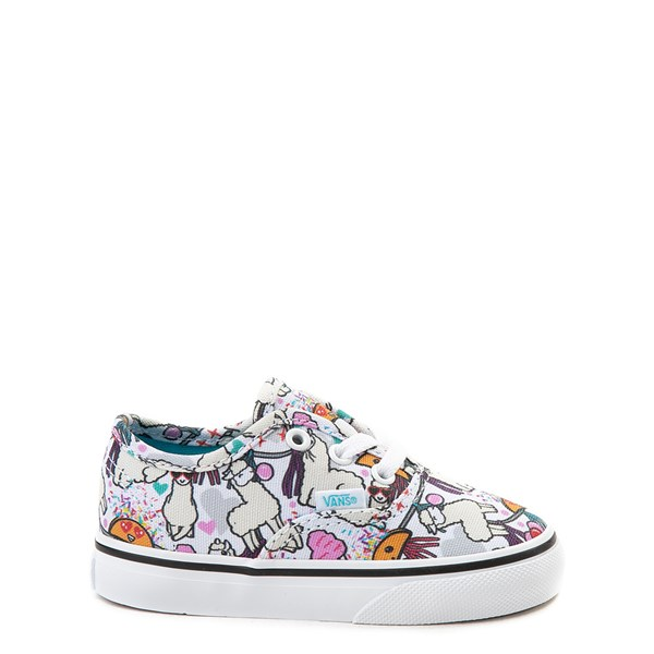 Default view of Vans Authentic Llama Party Skate Shoe - Baby / Toddler - White / Multi