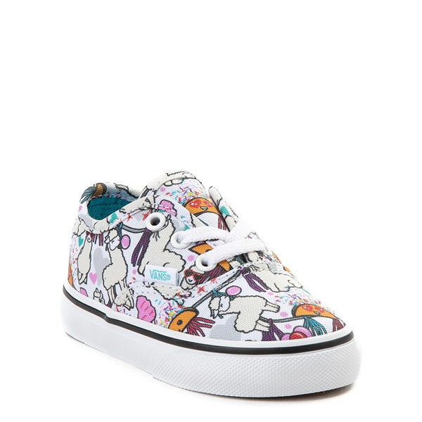 alternate view Vans Authentic Llama Party Skate Shoe - Baby / Toddler - White / MultiALT1