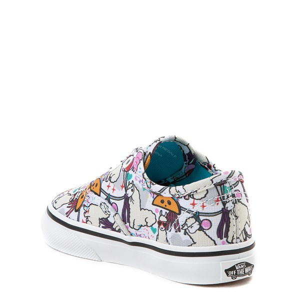 alternate view Vans Authentic Llama Party Skate Shoe - Baby / Toddler - White / MultiALT2