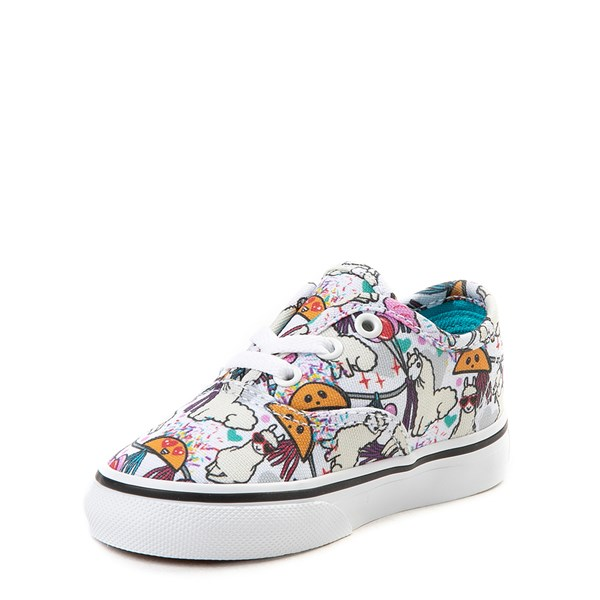 alternate view Vans Authentic Llama Party Skate Shoe - Baby / Toddler - White / MultiALT3