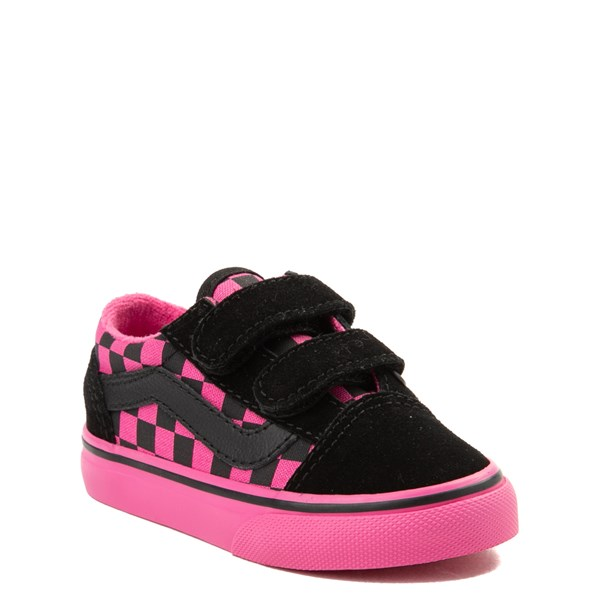 alternate view Vans Old Skool V Checkerboard Skate Shoe - Baby / Toddler - Pink / BlackALT1