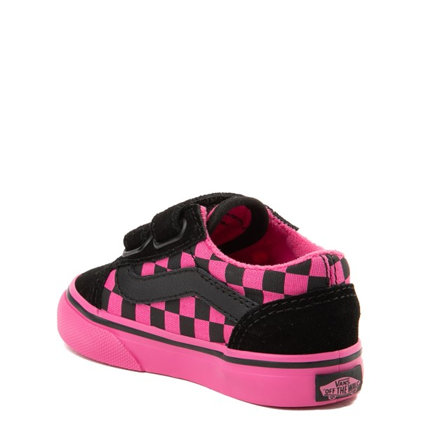 alternate view Vans Old Skool V Checkerboard Skate Shoe - Baby / Toddler - Pink / BlackALT2