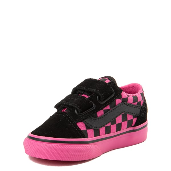 alternate view Vans Old Skool V Checkerboard Skate Shoe - Baby / Toddler - Pink / BlackALT3