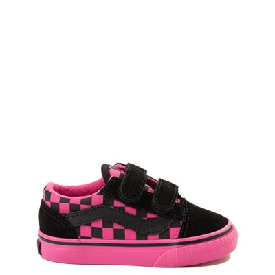 Main view of Vans Old Skool V Checkerboard Skate Shoe - Baby / Toddler - Pink / Black