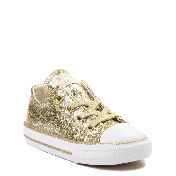 Alternate view of Converse Chuck Taylor All Star Lo Glitter Sneaker - Baby / Toddler - Gold
