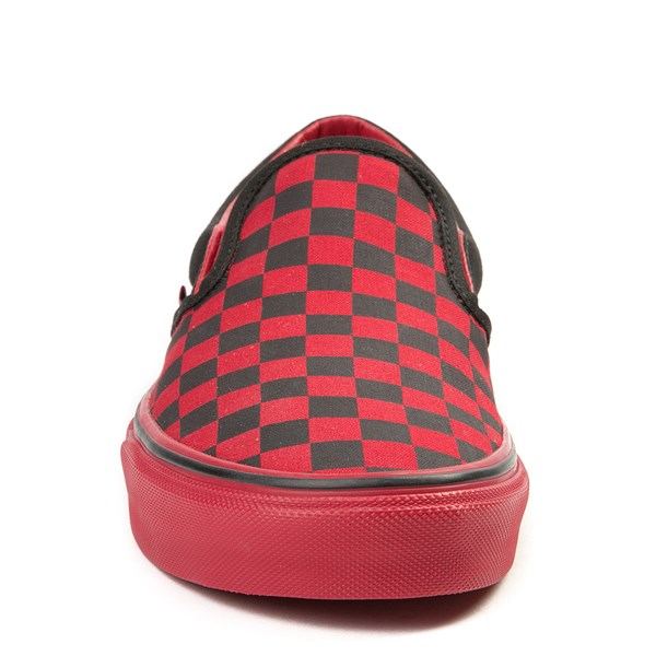 alternate view Vans Slip On Checkerboard  Skate Shoe - Black / Tango RedALT4