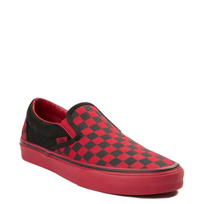 Alternate view of Vans Slip On Checkerboard  Skate Shoe - Black / Tango Red