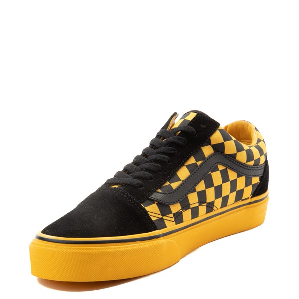 alternate view Vans Old Skool Checkerboard  Skate Shoe - Black / Spectra YellowALT3
