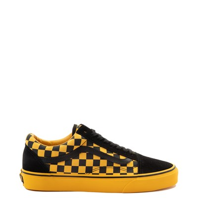 Main view of Vans Old Skool Checkerboard  Skate Shoe - Black / Spectra Yellow