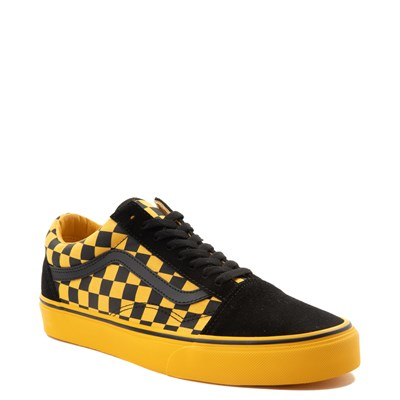 Alternate view of Vans Old Skool Checkerboard  Skate Shoe - Black / Spectra Yellow