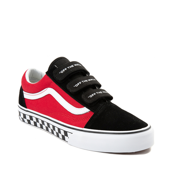alternate view Vans Old Skool V Logo Pop Skate Shoe - Red / BlackALT5