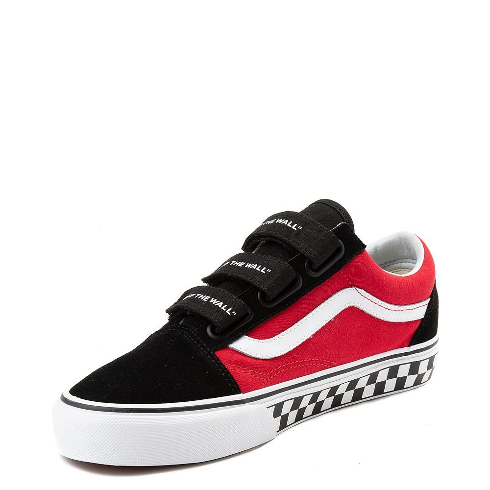 Vans Old Skool V Logo Pop Skate Shoe Red Black