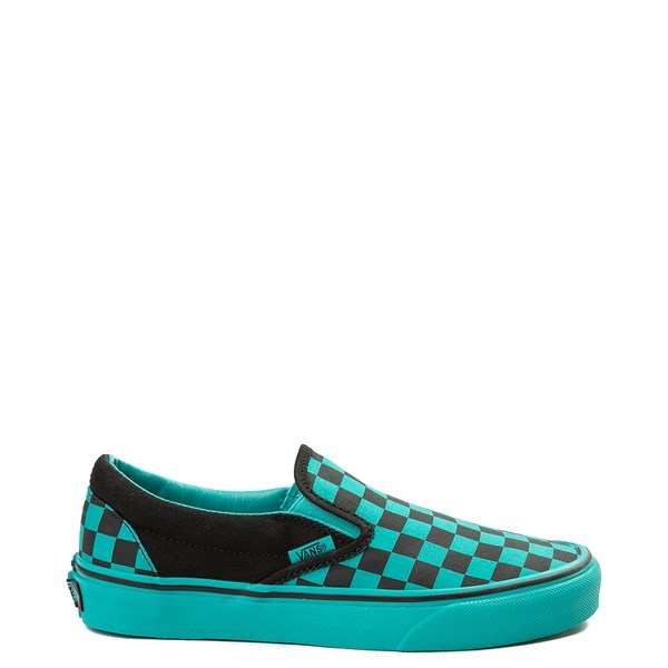 Vans Slip On Checkerboard Skate Shoe - Aqua / Black